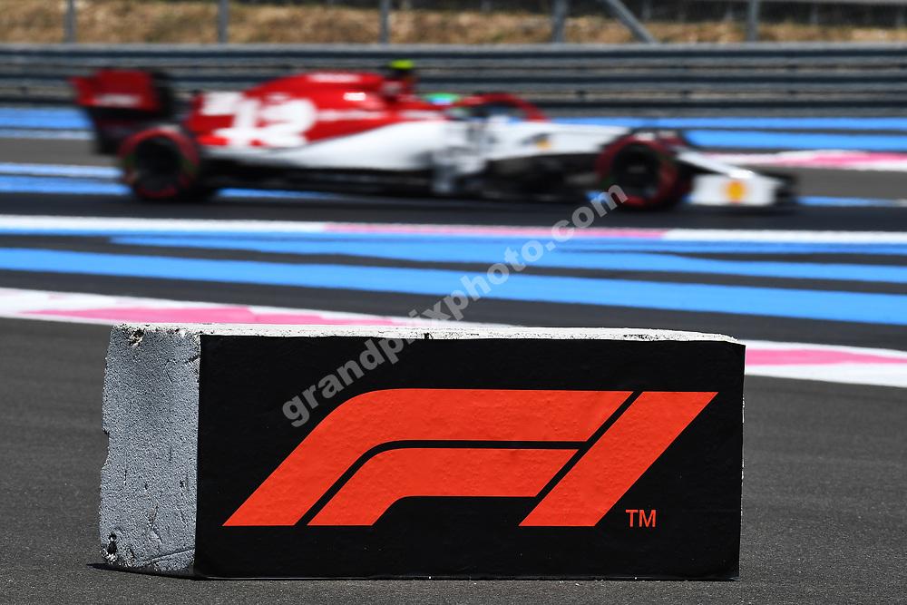 F1 sign / logo and Antonio Giovinazzi (Alfa Romeo-Ferrari) during practice for the 2019 French Grand Prix at Paul Ricard. Photo: Grand Prix Photo