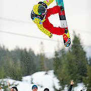 Canadian National Snowboard Team member Jeff Batchelor competes during finals at the 2009 LG Snowboard FIS World Cup at Cypress Mountain, British Columbia, on February 16th, 2009. Batchelor had a strong finish, placing 8th overal in the field of 62.