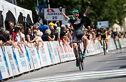 Lukas Poestlberger (AUT) of Bora - Hansgrohe celebrates in finish line as his teammate won during Stage 1 of 24th Tour of Slovenia 2017 / Tour de Slovenie from Koper to Kocevje (159,4 km) cycling race on June 15, 2017 in Slovenia. Photo by Vid Ponikvar / Sportida