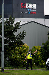 At it's height 40 firefighters and six fire appliances attended at steel fabricators Wyman Gordon in Livingston after a serious fire broke out. Surrounding premises were evacuated and roads were sealed off by police officers wearing breathing masks.<br /> <br /> © Dave Johnston/ EEm