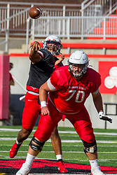 NORMAL, IL - August 14: Bryce Jefferson, Drew Bones  during a college football pre-season scrimmage of the  ISU (Illinois State University) Redbirds August 14 2021 at Hancock Stadium in Normal, IL. (Photo by Alan Look)