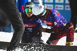 Selina Joerg (GER) with Julia Dujmovits (AUT) during parallel giant slalom FIS Snowboard Alpine world championships 2021 on 1st of March 2021 on Rogla, Slovenia, Slovenia. Photo by Grega Valancic / Sportida