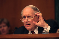 Senator Carl Levin D MI. asks a question at a hearing on Goldman Sachs before the Senate Homeland Security and Government Affairs Subcommittee.  Photograph by Dennis Brack