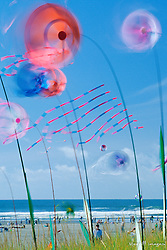 North America, United States, Washington, Long Beach. Kites spinning at Washington State Kite Festival