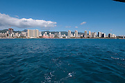A view of Waikiki from a boat.