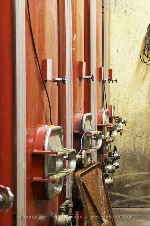 Domaine Jean Baptiste Senat. In Trausse. Minervois. Languedoc. Painted steel vats. France. Europe.