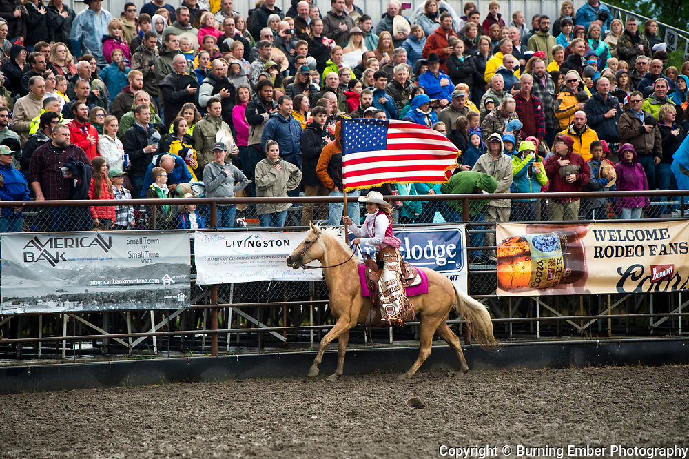 Opening Flags at the Livingston Roundup 2nd perf July 3rd 2019.  Photo by Josh Homer/Burning Ember Photography.  Photo credit must be given on all uses.