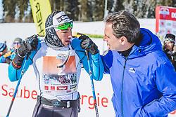 20.01.2019, Loipe Obertilliach, AUT, 45. Dolomitenlauf, Freestyle, im Bild v.l.: 2. Platz Gerard Agnellet (FRA, 42km), Franz Theurl (TVB Obmann und Organisator) // during the 45th Dolomitenlauf Freestyle race at Obertilliach, Austria on 2019/01/20, EXPA Pictures © 2019 PhotoCredit: EXPA/ Dominik Angerer