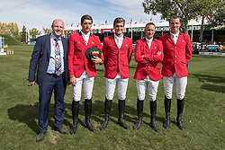 Team Belgium, Knops Simon, Philippaerts Nicola, Philippaerts olivier, Cox Karel, Wathelet Gregory<br /> CSIO 5* Spruce Meadows Masters - Calgary 2016<br /> © Hippo Foto - Dirk Caremans<br /> 10/09/16