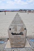 Israel, Tel Aviv Memorial for the IZL arms ship Altalena on the beachfront