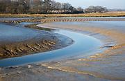 Meanders in mud channel low tide River Deben, Kirton Creek, Suffolk, England, UK