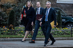© Licensed to London News Pictures. 08/01/2019. London, UK. Secretary of State for Work and Pensions Amber Rudd (L), Secretary of State for Health and Social Care Matt Hancock (C) and Secretary of State for Exiting the European Union Stephen Barclay (R) on Downing Street for the Cabinet meeting. Photo credit: Rob Pinney/LNP