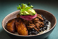 Ropa Vieja, shredded low braised flank steak with black beans, white rice, pickled onion, maduros and avocado at Mayo Ketchup by Plantain Girl Thursday, Nov. 14, 2019 in the Lafayette Square neighborhood of St. Louis. The fast casual restaurant serves Puerto Rican, Dominican and Cuban food. Photo © copyright 2019 Sid Hastings.