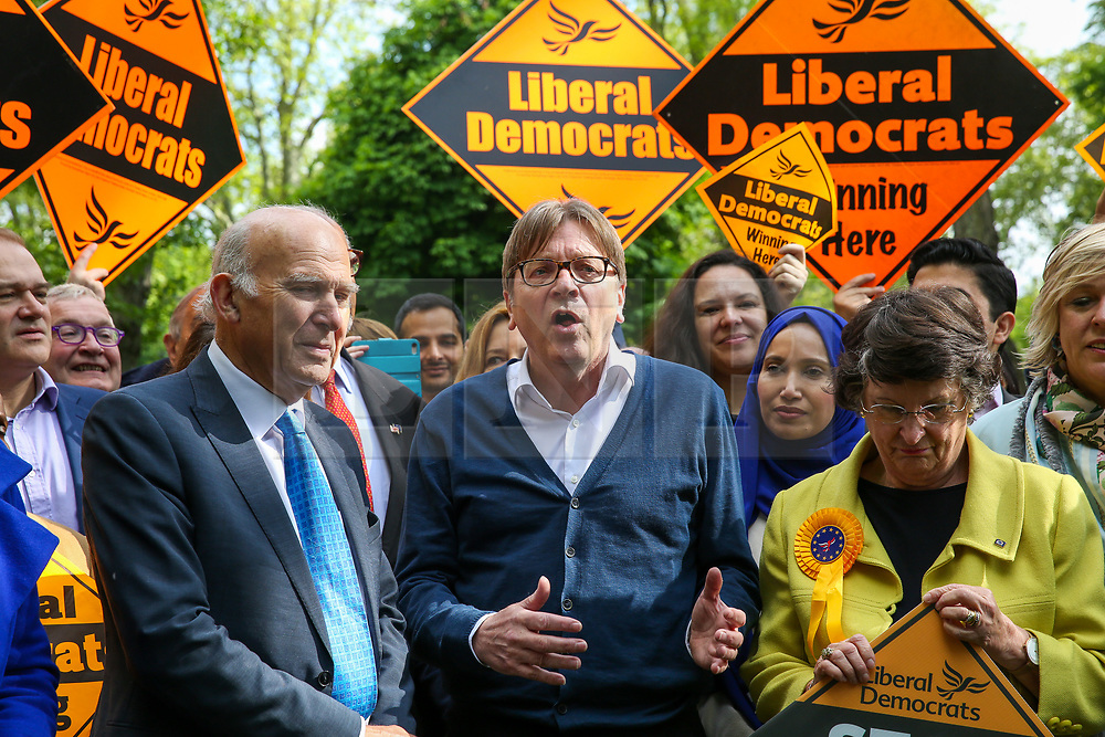 © Licensed to London News Pictures. 10/05/2019. London, UK. Guy Verhofstadt, the EU Parliament's representative on Brexit and the Leader of the Alliance of Liberals and Democrats for Europe joins Vince Cable, Liberal Democrats MEP candidates and party activists canvassing in Camden, north London for the Liberal Democrats European Union election campaign. Britain must hold European Parliament elections on 23rd May 2019 or leave the European Union with no deal on 1st June 2019 after Brexit was delayed until 31st October 2019, as Prime Minister, Theresa May failed to get her Brexit deal approved by Parliament. Photo credit: Dinendra Haria/LNP