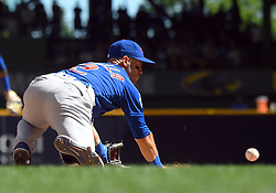 June 13, 2018 - Milwaukee, WI, U.S. - MILWAUKEE, WI - JUNE 13: Chicago Cubs Infield Tommy La Stella (2) lunges for a ground ball during a MLB game between the Milwaukee Brewers and Chicago Cubs on June 13, 2018 at Miller Park in Milwaukee, WI. The Brewers defeated the Cubs 1-0.(Photo by Nick Wosika/Icon Sportswire) (Credit Image: © Nick Wosika/Icon SMI via ZUMA Press)
