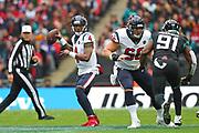 Houston Texan's quarterback, Deshaun Watson (4) throws the ball during the NFL game between Houston Texans and Jacksonville Jaguars at Wembley Stadium in London, United Kingdom. 03 November 2019
