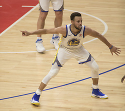 January 6, 2018 - Los Angeles, California, U.S - Stephen Curry #30 of the Golden State Warriors defends during their NBA game with the Los Angeles Clippers on Saturday January 6, 2018 at the Staples Center in Los Angeles, California. Clippers vs Warriors. (Credit Image: © Prensa Internacional via ZUMA Wire)