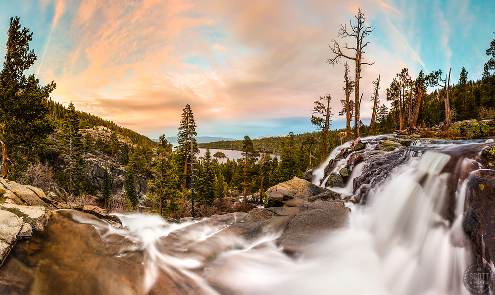 """""""Eagle Falls At Emerald Bay 7"""" - Stitched panoramic photograph of Eagle Falls above Emerald Bay, Lake Tahoe flowing strong. Shot at sunset."""