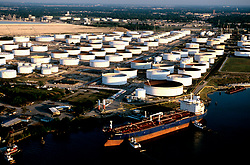 Aerial view of a tanker docked outside a tank farm in Galveston Texas