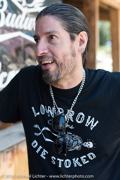 Xavier Muriel at the Nemo Guest Ranch on the Annual Cycle Source and Michael Lichter Rides (combined this year) left from the new Broken Spoke area of the Iron Horse Saloon during the Sturgis Black Hills Motorcycle Rally. SD, USA.  Wednesday, August 10, 2016.  Photography ©2016 Michael Lichter.