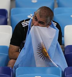 NIZHNY NOVGOROD, June 21, 2018  A fan of Argentina reacts after the 2018 FIFA World Cup Group D match between Argentina and Croatia in Nizhny Novgorod, Russia, June 21, 2018. Croatia won 3-0. (Credit Image: © Yang Lei/Xinhua via ZUMA Wire)