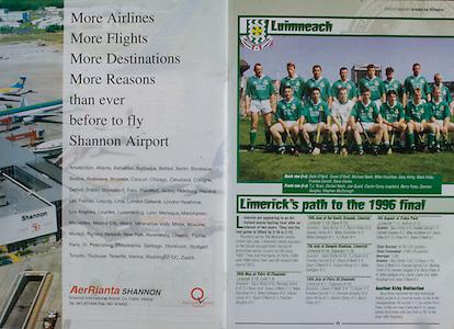 All Ireland Senior Hurling Championship - Final,.01.09.1996, 09.01.1996, 1st September 1996,.01091996AISHCF, .Wexford v Limerick,.Wexford 1-13, Limerick 0-14,.Limerick, Quaid, S McDonagh, M Nash, D Nash, D Clarke, C Carey (Capt), M Foley, M Houlihan, S O'Neill, F Carroll, G Kirby, B Foley, O O'Neill, D Quigley, T J Ryan Subs, P Tobin for O O'Neill, B Tobin for Ryan, T Herbert for B Foley,.Referee P. Horan (Offaly), .Aer Rianta, Shannon,