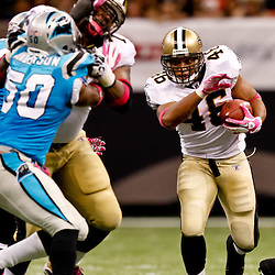 October 3, 2010; New Orleans, LA, USA; New Orleans Saints running back Ladell Betts (46) runs against the Carolina Panthers during the second half at the Louisiana Superdome. The Saints defeated the Panthers 16-14. Mandatory Credit: Derick E. Hingle