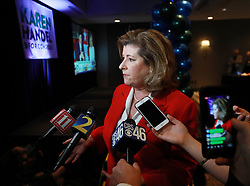 Rep. Karen Handel, (R-Ga.), 6th Congressional District, talks to the media during an appearance at her election watch party on Tuesday, Nov. 6, 2018, in Atlanta. Photo by Curtis Compton/Atlanta Journal-Constitution/TNS/ABACAPRESS.COM
