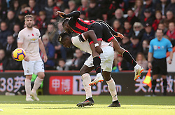 Bournemouth's Jefferson Lerma and Manchester United's Paul Pogba battle for the ball during the Premier League match at The Vitality Stadium, Bournemouth.