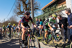 Lisa Brennauer finds some room on the cobbled, Molenberg climb - Women's Ronde van Vlaanderen 2016. A 141km road race starting and finishing in Oudenaarde, Belgium on April 3rd 2016.