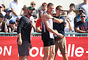 Zach Ziemek (USA), center, and coach Nate Davis during the decathlon at the DecaStar meeting, Saturday, June 23, 2019, in Talence, France. Ziemek placed second with 8,344 points. (Jiro Mochizuki/Image of Sport)