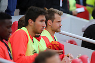Liverpool Goalkeeper Simon Mignolet (r) takes his seat on the bench. Premier League match, Liverpool v Hull City at the Anfield stadium in Liverpool, Merseyside on Saturday 24th September 2016.<br /> pic by Chris Stading, Andrew Orchard sports photography.