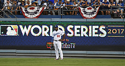 October 24, 2017 - Los Angeles, California, U.S. - Los Angeles Dodgers right fielder Yasiel Puig in the third inning of game one of a World Series baseball game against the Houston Astros at Dodger Stadium on Tuesday, Oct. 24, 2017 in Los Angeles. (Photo by Keith Birmingham, Pasadena Star-News/SCNG) (Credit Image: © San Gabriel Valley Tribune via ZUMA Wire)