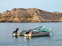 Oman. Suwadi al Batha in the Al Batinah region is located on the coast of the Gulf of Oman, and is a popular diving spot. Fishing boats.