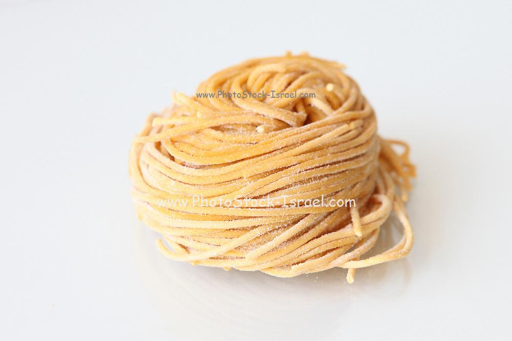 Fresh Spaghetti on white background