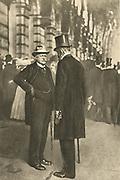 Bernhard Heinrich Karl Martin von Bulow (1849-1929), left, German Foreign Secretary 1897-1909. Responsible for Weltpolitik - colonial expansion. Reichschancellor 1900-1909, speaking with his successor Theobald Bethmann Hollweg (1856-1921), Chancellor 1909