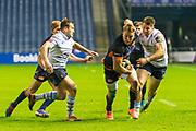 Duhan van der Merwe (#11) of Edinburgh Rugby bursts through the Cardiff line during the Guinness Pro 14 2019_20 match between Edinburgh Rugby and Cardiff Blues at BT Murrayfield Stadium, Edinburgh, Scotland on 28 February 2020.