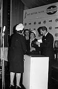 26/03/1963<br /> 03/26/1963<br /> 26 March 1963<br /> Prize draw at frozen food seminar for Housewives sponsored by M and P Hanlon Ltd. and Birds-Eye foods Ltd. was held at the Gresham Hotel, Dublin. During the seminar a draw was held for a refrigerator. Picture Shows (l-r): Mrs K. Hogan, President, Dublin Federation I.C.A. who drew the winning ticket congratulating the winner, Mrs. K. Quigley, Vice-President Skerries I.C.A. Guild.  Mr. P.J. Hendrick, Sales Manager M and P Hanlon Ltd.  and Mr F.J. Hardy, Managing Director of M and P Hanlon Ltd..