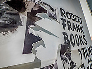 """Portland, Oregon, USA. 26 FEB, 2018. The photographer Robert Frank's work hangs  defaced at Blue Sky Gallery in Portland, Oregon, USA. The work was destroyed in a """"Destruction Dance"""" performance defacing the photographs with ink and mutilation with scissors, knives and even ice skates  at the end of it's run. The destruction was Frank's protest regarding today's greed in the global art market."""