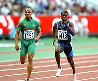 Athletics, 24. august 2003, VM Paris, World Championship in Athletics,  Sherwin Vries, Sør-Afrika, og Tim Montgomery, USA, på 100 meter