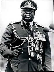 Jan. 01, 1978 - KOBOKO. UGANDA. President Idi Amin, in his Field Marshall's uniform covered with all his medals addressing the nation after the Parade here to mark seven years of his military coup. (Credit Image: © Keystone Press Agency/Keystone USA via ZUMAPRESS.com)