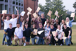 © Licensed to London News Pictures. 18/08/2016. Solihull School students receiving their A Level results earlier today. Pictured, all winners, students celebrating their success.  Photo credit: Dave Warren/LNP