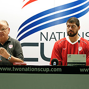 Olympiacos's coach Dusan IVKOVIC (L) and Lazaros PAPADOPOULOS (R) during their Two Nations Cup basketball match Anadolu Efes between Olympiacos at Abdi Ipekci Arena in Istanbul Turkey on Sunday 02 October 2011. Photo by TURKPIX