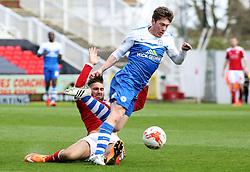 Peterborough United's Luke James is fouled by Swindon Town's Jordan Turnbull - Photo mandatory by-line: Joe Dent/JMP - Mobile: 07966 386802 - 11/04/2015 - SPORT - Football - Swindon - County Ground - Swindon Town v Peterborough United - Sky Bet League One