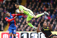 goalkeeper Claudio Bravo of Manchester City collides into Vincent Kompany of Manchester City ® , who takes a knock to his head while watching the ball. Premier League match, Crystal Palace v Manchester city at Selhurst Park in London on Saturday 19th November 2016. pic by John Patrick Fletcher, Andrew Orchard sports photography.