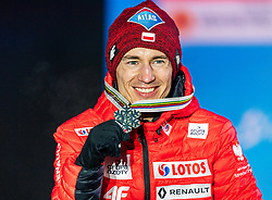 02.03.2019, Seefeld, AUT, FIS Weltmeisterschaften Ski Nordisch, Seefeld 2019, Skisprung, Herren, Siegerehrung, im Bild Silbermedaillengewinner Kamil Stoch (POL) // Silver medalist Kamil Stoch of Poland during the winner ceremony for the men's Skijumping HS109 competition of FIS Nordic Ski World Championships 2019. Seefeld, Austria on 2019/03/02. EXPA Pictures © 2019, PhotoCredit: EXPA/ Stefan Adelsberger