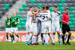 Players of NK Rudar celebrating goal during football match between NK Olimpija and NK Rudar Velenje in 2nd Round of Slovenian Cup 2019/20, on August 15, 2019 in Arena Stozive, Ljubljana, Slovenia. Photo by Grega Valancic / Sportida