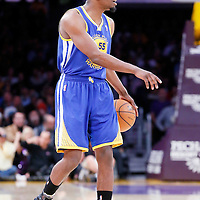 11 April 2014: Golden State Warriors guard Jordan Crawford (55) sets the offense during the Golden State Warriors 112-95 victory over the Los Angeles Lakers at the Staples Center, Los Angeles, California, USA.