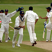 The celebrations begin as India beat England by an innings, the last wicket being Andy Caddick, caught by Sourav Ganguly off the bowling of Anil Kumble.