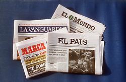 Spanish newspapers  La Vanguardia; El Mundo; El Pais; Marca,